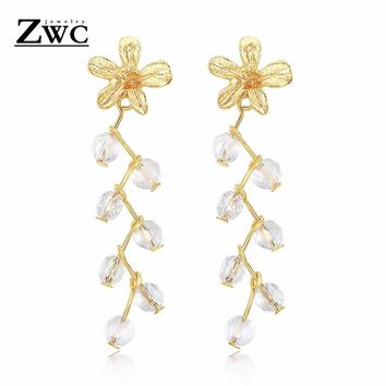 ZWC Fashion Charm Sweet Flowers Crystal Long Ear Studs For Women Girls Party Wedding Romance Personality Earrings Jewelry Gift
