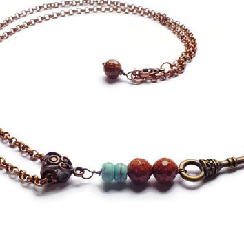 Skeleton Key Necklace, Goldstone Necklace, Howlite Necklace, Antique Copper Necklace,  Key Necklace