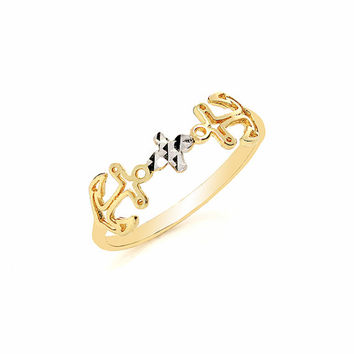 14k solid gold two tone anchor ring, dainty ring, trendy ring, knuckle ring, nautical ring