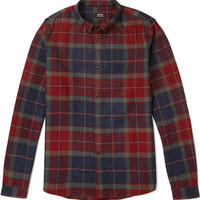 A.P.C. - Button-Down Collar Checked Wool-Blend Flannel Shirt | MR PORTER