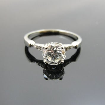 vintage engagement ring with square cut from msjewelers on
