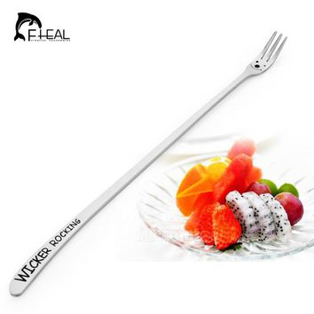 FHEAL Stainless Steel material Heavy Long Handle Cake Dessert Fruit Fork Cartoon smile Face Tableware Flatware