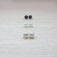 5mm Cabochon Pearl Earrings, Faux Pearls on Plastic Posts, White, Gray and Black, Set of 3
