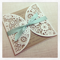 Rustic Mint Laser Cut Wedding Invitation - Laser Cut invitation SAMPLE
