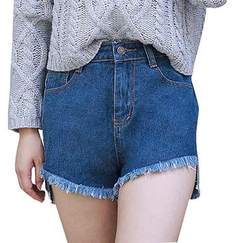 Dmart7dealSolid Color All-match Summer New High Waist Denim Women's Shorts Casual hort Plus Size
