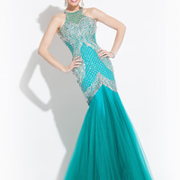 High Neck With Open Back Prom Dress By Rachel Allan 6865