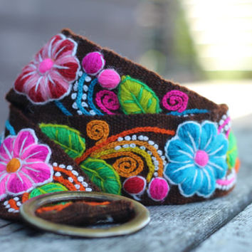 "Brown Hand Embroidered Wool Belt from Peru, Flowers, Size medium (Waist 32-40""), 100% Wool, Free shipping to US!"