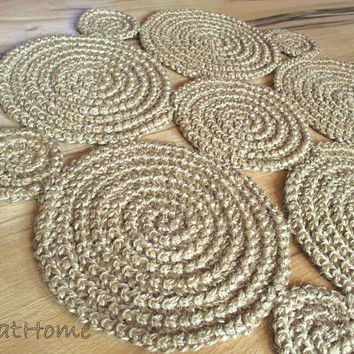 Small Flower Crochet natural jute rug  Braided rug,