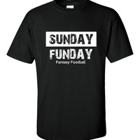 Sunday FUNDAY Fantasy Football Printed Graphic T Shirt Great FANTASY FOOTBALL Printed Tee Shirt