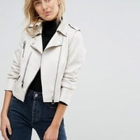 Mango Faux Leather Zip Biker Jacket at asos.com
