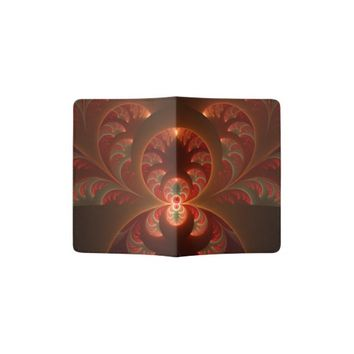 Luminous abstract modern orange red Fractal Passport Holder
