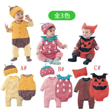 Halloween baby costume pumpkin strawberry bee clothing set 3pcs hat+romper+bodysuit infant toddler kids boys girls clothes
