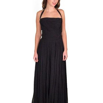 Vintage Formal Evening Gown Black Chiffon Halter Lee Claire 1940'S 32-24-Free