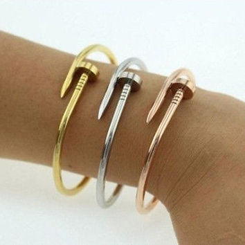 NEW BRAND Gold Plated Silver Plated Nail Bracelet USLS