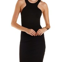 Black Racer Front Bodycon Dress by Charlotte Russe