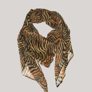 Tiger Print Silk Scarf, Wide Square Scarf, Animal Print Scarf, Women's Fashion Accessories, Wide Tribal Scarf, Lightweight Fashion Scarves