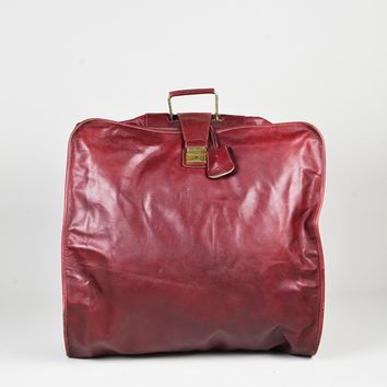 VINTAGE Bottega Veneta Red Leather Diamante Embossed Folding Garment Bag