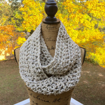 Infinity Scarf Crochet Knit Oatmeal Wool Blend Women's Accessories Eternity Fall Winter Ready To Ship