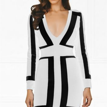 Indie XO Always On Time White Black Color Block Bandage Long Sleeve Plunge V Neck Bodycon Mini Dress - As Seen on Amrezy