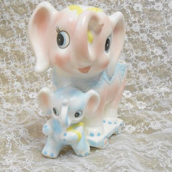 Vintage Inarco Elephant Pink and Blue Baby Nursery Ceramic Planter made in Japan Mother and Baby Elephant
