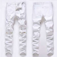 Fashion Men's Skinny Runway Straight Zipper Hole Denim Pants Destroyed Ripped Jeans Pencil Long Jeans