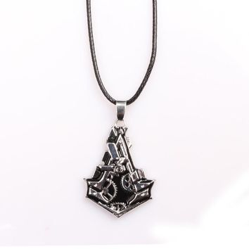 Movie Game Series Men Jewelry Assassins Creed Necklace & Pendants Steampunk Syndicate Gear Charm Leather Chain Necklace