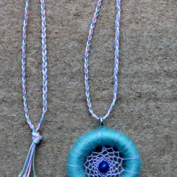 Dreamcatcher necklace-Sleeping Beauty necklace-Cinderella-native american-teal / purple necklace-fairy tale jewelry-fantasy jewelry-fairy