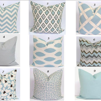 Blue Chevron Pillow.16x16 inch.Pillow Cover.Printed Fabric Front and Back.New Pillow Cover.Coordinating Pillows.Zig Zag