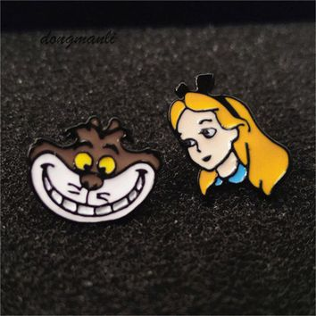 W3045  1pair movie Cartoon Alice in wonderland Cheshire cat stud earrings Gift Fashion Jewelry Accessories