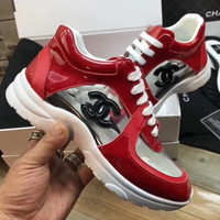 shosouvenir   Chanel  Transparent crystal white shoes, women's laces, sports shoes, casual shoes.
