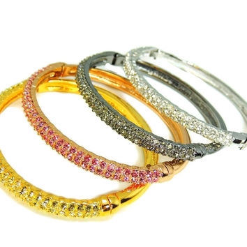 Nolan Miller Perfect Pave Bangle Bracelets Set of 4 Rose Silver Gold Gunmetal Tones w Rhinestones