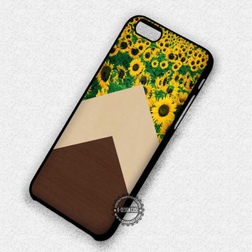 Sunflower Chevron Wood - iPhone 7 6S 5C SE Cases & Covers