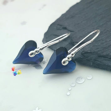 Dark Indigo Wild Heart Earrings, Sterling Silver, navy, Gift for Her, Crystal, girlfriend valentines day gift, sweetheart jewelry