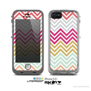 The Three-Bar Color Chevron Pattern Skin for the Apple iPhone 5c LifeProof Case