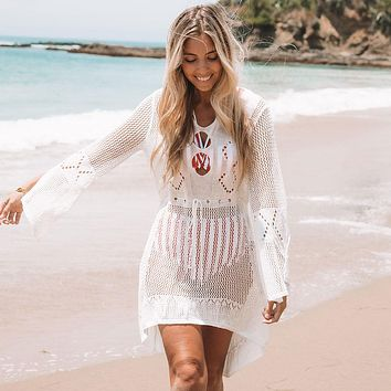 40fb043817 Crochet Knitted Beach Cover up Dress Tunic Long Pareos Bikinis C