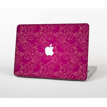 The Pink and Yellow Floral Vine Pattern Skin for the Apple MacBook Air 13""