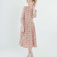 Linen floral dress, Romantic country style under the knee dress, elegant soft pleated midi, 3/4 sleeves, shell buttons, round neck