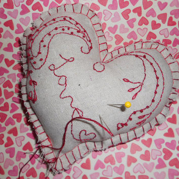 Love Embroidered Heart Pincushion Homespun Folk Altered Art