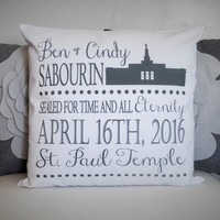 LDS wedding gift -  lds temple pillow cover