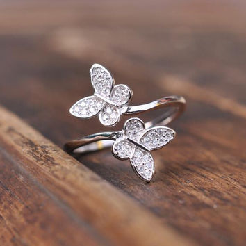 Silver Micropave Clear CZ Small Butterfly Ring