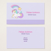 Cute Unicorn with Colorful Shooting Star Business Card
