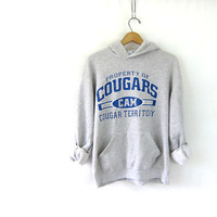 Vintage distressed Cougars sweatshirt. Baggy heather gray novelty hoodie. sporty athletic unisex COED M L