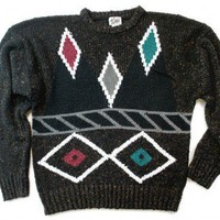 Shop Now! Ugly Sweaters: Vintage 80s Diamond Face Ugly Cosby Sweater Men's Size Large (L) $18