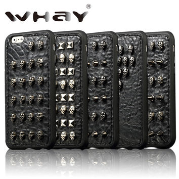 3D Fashion Cool Punk Skull TPU Case for iPhone 6 6S 5 Handmade Wild Spikes Studs Rivet Skin Case For iPhone 7 6S Case 4.7''