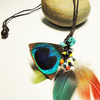 Mix Feather and the beads  necklace.