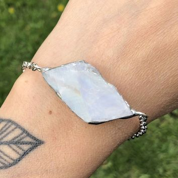 Raw Rough Rainbow Moonstone Bracelet or Anklet