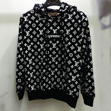 Supreme X Louis Vuitton Women Men Fashion Casual Hooded Top Sweater Pullover