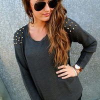 Gold Studded Sweater {Charcoal}