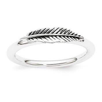 Sterling Silver Stackable Expressions Antiqued Feather Ring