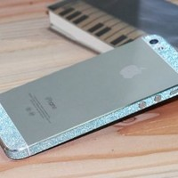 Bumper Side Luxury Glitter Bling Sticker Skin for Iphone 5s Diamond Blue Color
